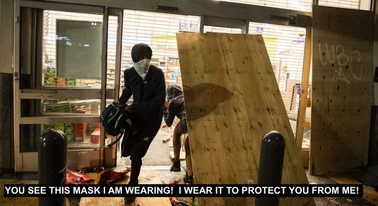 CDC ADVISES LOOTERS TO WEAR MASKS!