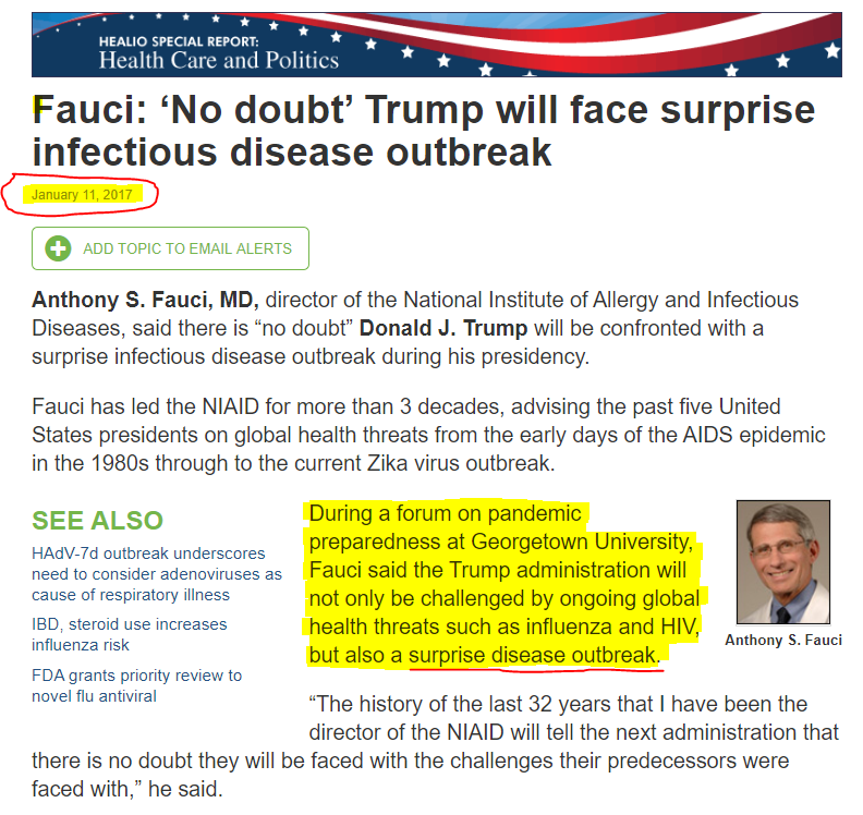 How did Fauci know about the coming COVID outbreak?