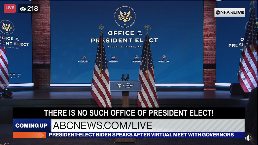 """BIDEN USING PSYCHOLOGICAL IMAGERY–""""THE OFFICE OF PRESIDENT ELECT"""""""