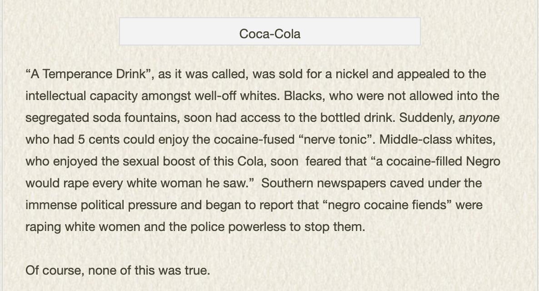 Coca-cola racist roots