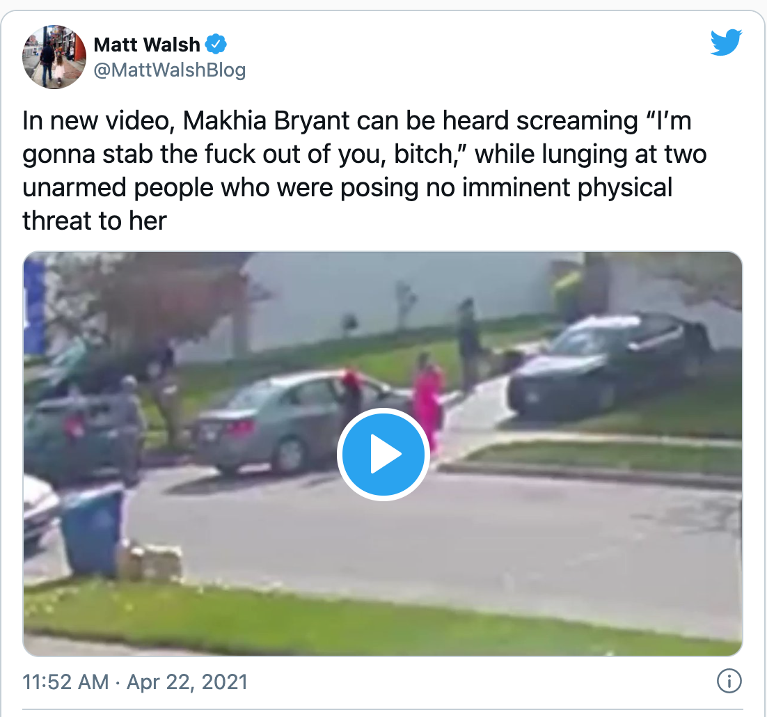Ma'Khia Bryant in the act of stabbing