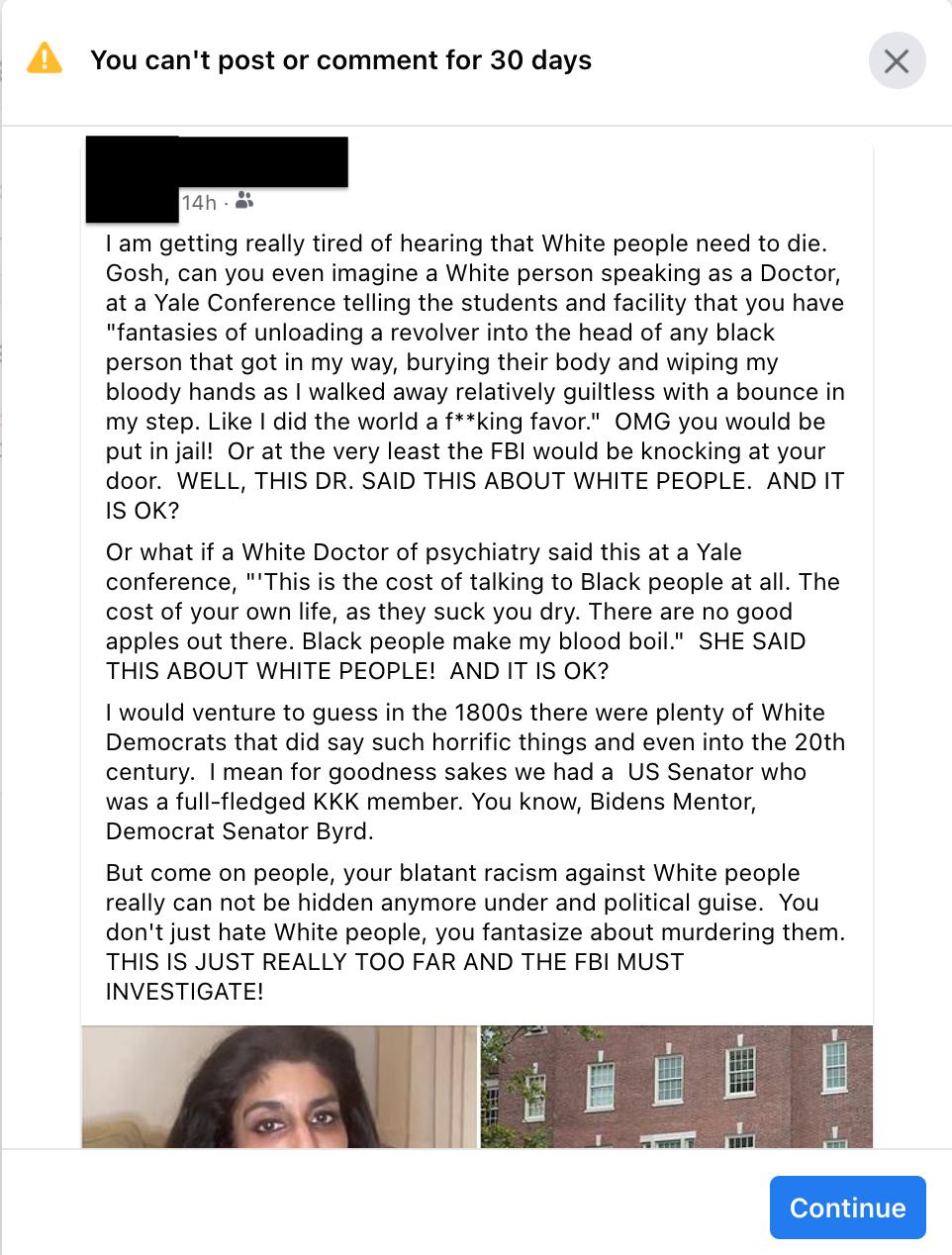 FaceBook report as hate speech