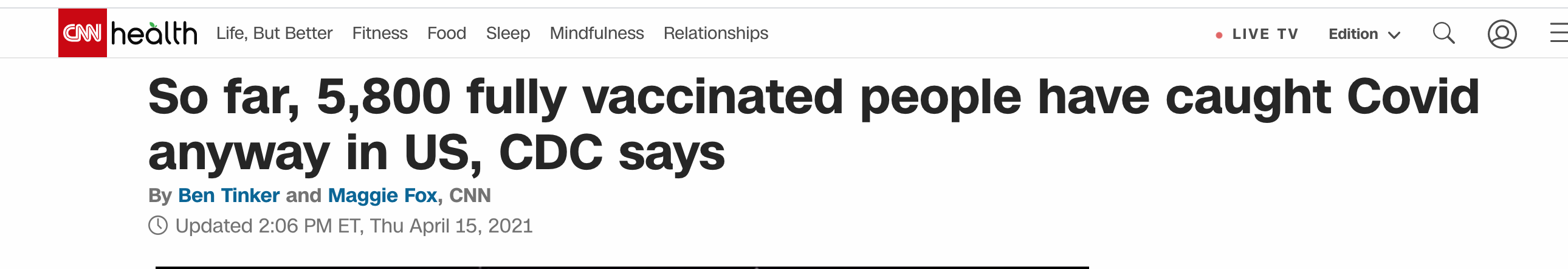 CNN admits vaxed people get COVID